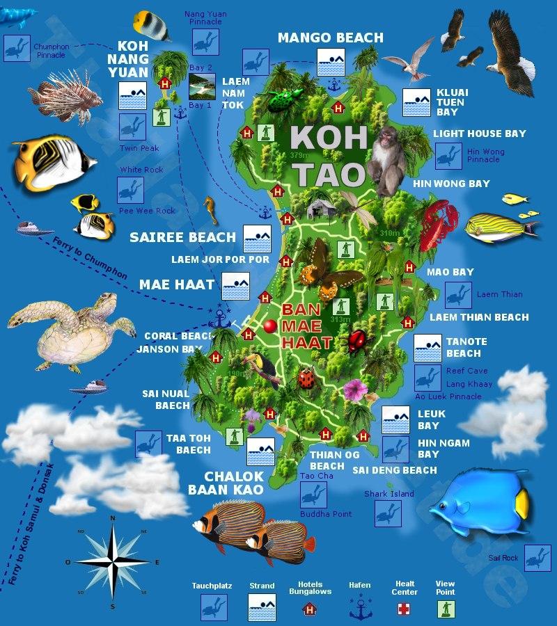 De kaart van Koh Tao